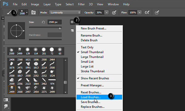 Load Photoshop's brushes