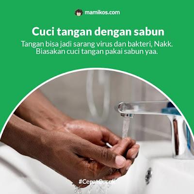 Cuci tangan dengan sabun di musim hujan