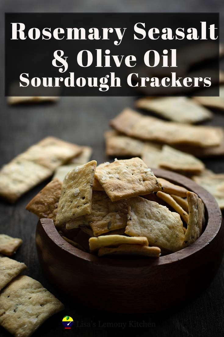 Homemade rosemary sourdough crackers with sea salt are perfect snack to enjoy on its own or with any dip or hummus.