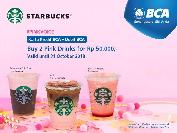 Bank BCA - Promo Buy 2 Pink Drink Cuma 50 Ribu (s.d 31 Okt 2018)