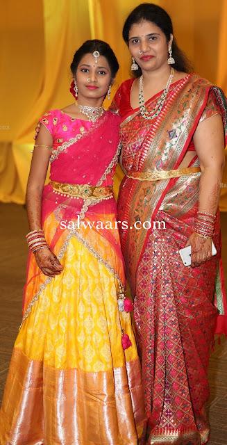 Girl in Yellow Benaras Half Saree