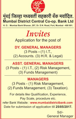Mumbai District Bank Recruitment 2017 mdccbank.com Application Form