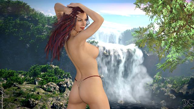 Erotic, 3D Art, Digital Art, Nude, Sexy, Naked, Ariel, Girl, Red Hair