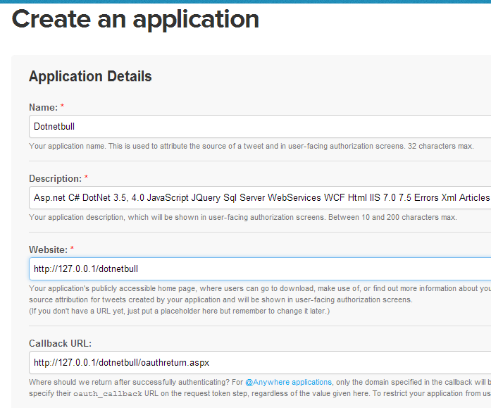 Login with twitter using oauth authentication in asp net and get