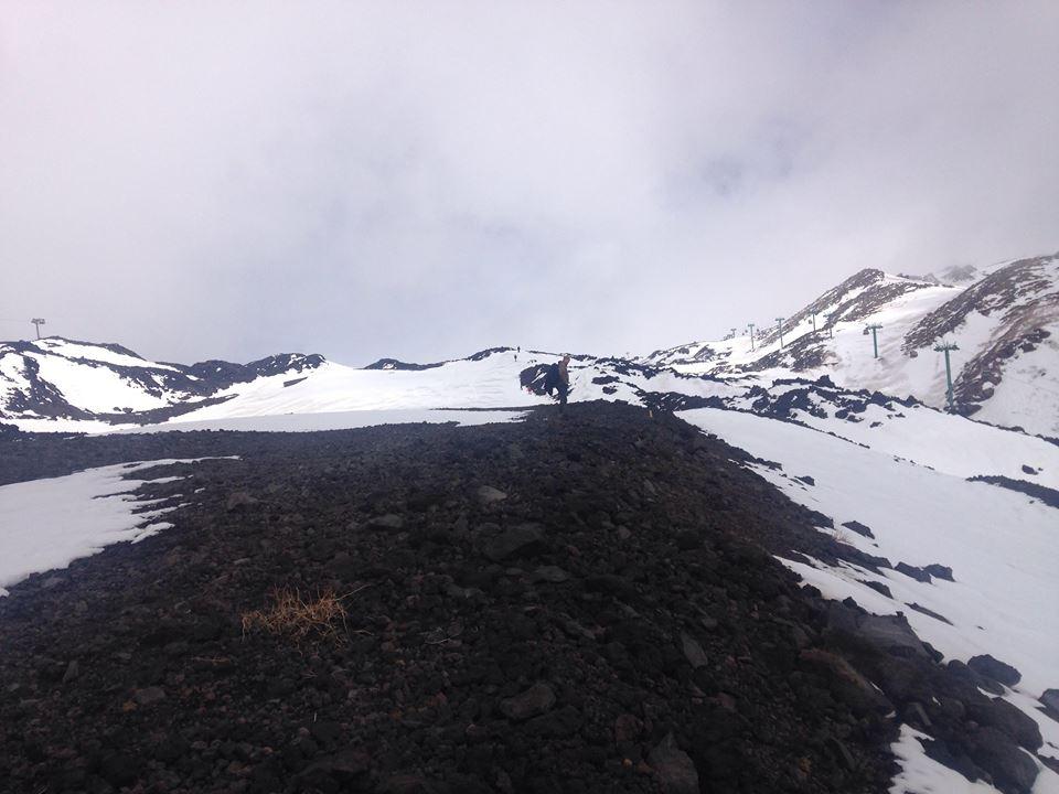 Etna zimą krajobraz w lutym