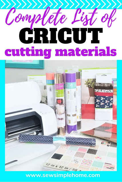 A complete list of Cricut cutting materials for both the Cricut Explore machines and Cricut Maker