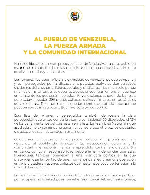 MÁS DE LO MISMO | Guaidó vuelve con un nuevo discurso vacío y sin acciones concretas