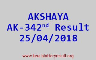 AKSHAYA Lottery AK 342 Result 25-04-2018