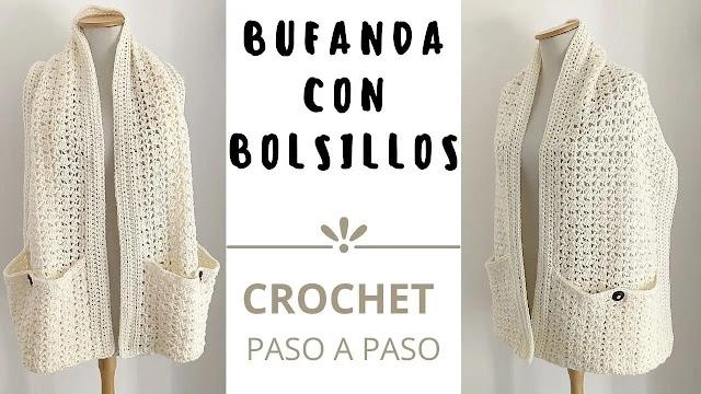 Aprende Tejer Bufanda Con Bolsillos a Crochet