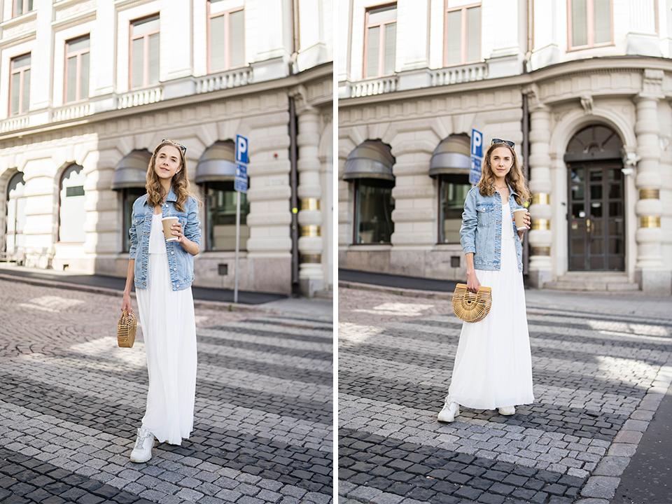 White maxi dress and denim jacket outfit - Valkoinen maksimekko ja farkkutakki