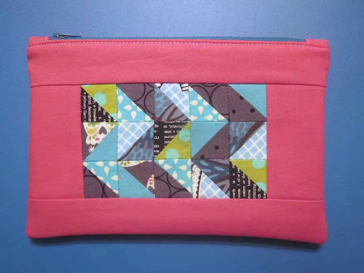 Half Square Triangle Zip Pouch Tutorial