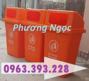 Thùng rác 90 Lít nắp hở nhựa HDPE, thùng rác cửa ngang, thùng rác công cộng TR90LNH3
