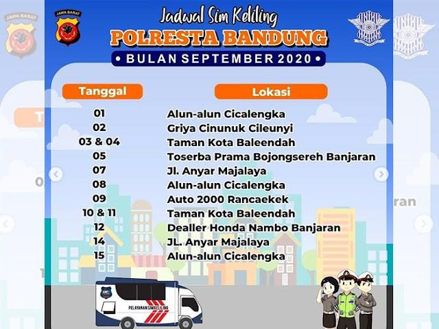 Jadwal Lengkap Layanan SIM Keliling Polresta Bandung Selama Bulan September 2020