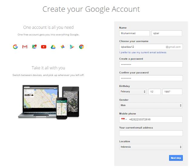 Menu Untuk Membuat Gmail