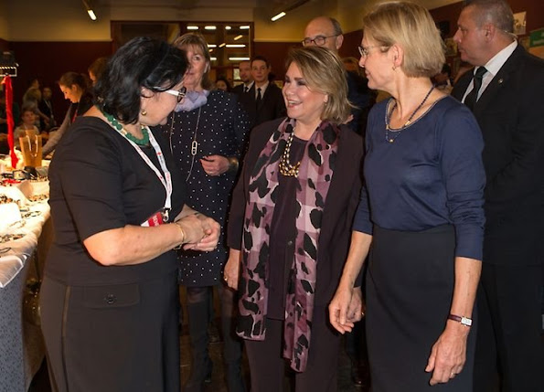 Grand Duchess Maria Teresa of Luxembourg at Red Cross Ball and visited Red Cross Bazaar in Luxembourg