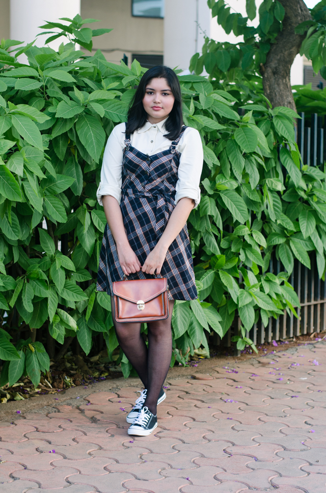 Sixties-Plaid-Pinafore-Dress-with-White-Shirt