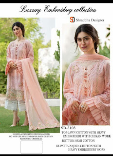 Cotton Chikan work Pakistani Suits