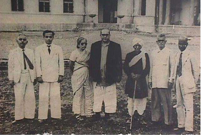 Dr. Ambedkar with the architect of the Milind College, Principal M.B.Chitris, Mrs. Savita Ambedkar, Rao Bahadur C. K. Bole and Mr. B. H. Varale