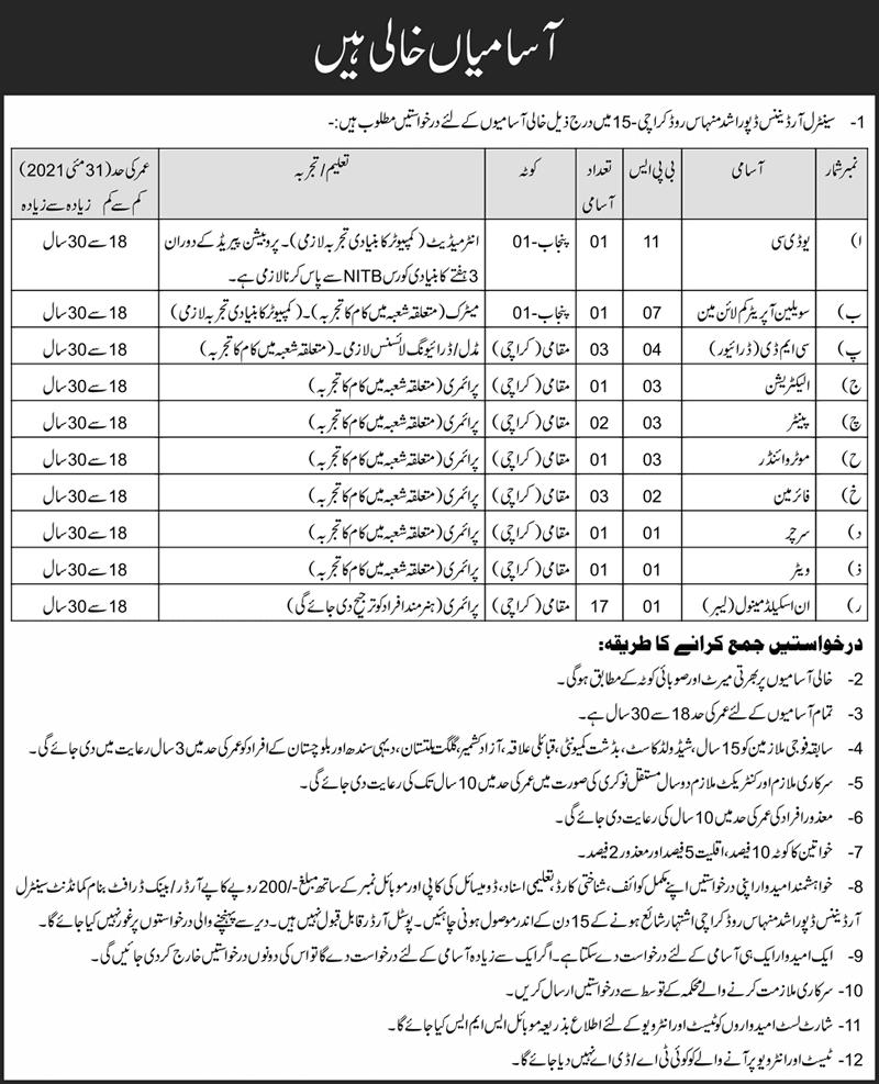 Pakistan Army Central Ordnance Depot COD Jobs 2021