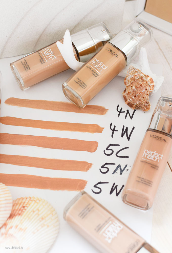 Swatch, L'Oreal Perfect Match Foundation für mitte helle Haut, 4N, 4W, 5C, 5N, 5W