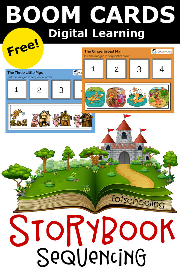 FREE Boom digital cards for PreK and Kindergarten kids, featuring fairy tales and nursery rhymes. These are sequencing activities that helps with language and speech development as well as comprehension skills. Perfect for distance or remote learning!