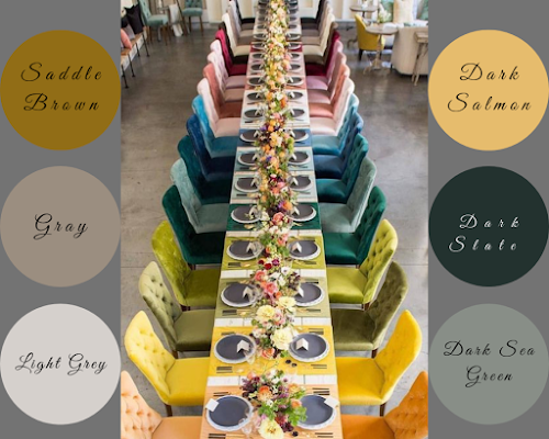 Wedding Color Schemes For Fall - Skip the linens and add colorful chairs to your reception tables - Wedding Soiree Blog by K'Mich, Philadelphia's premier resource for wedding planning and inspiration - thewedlists