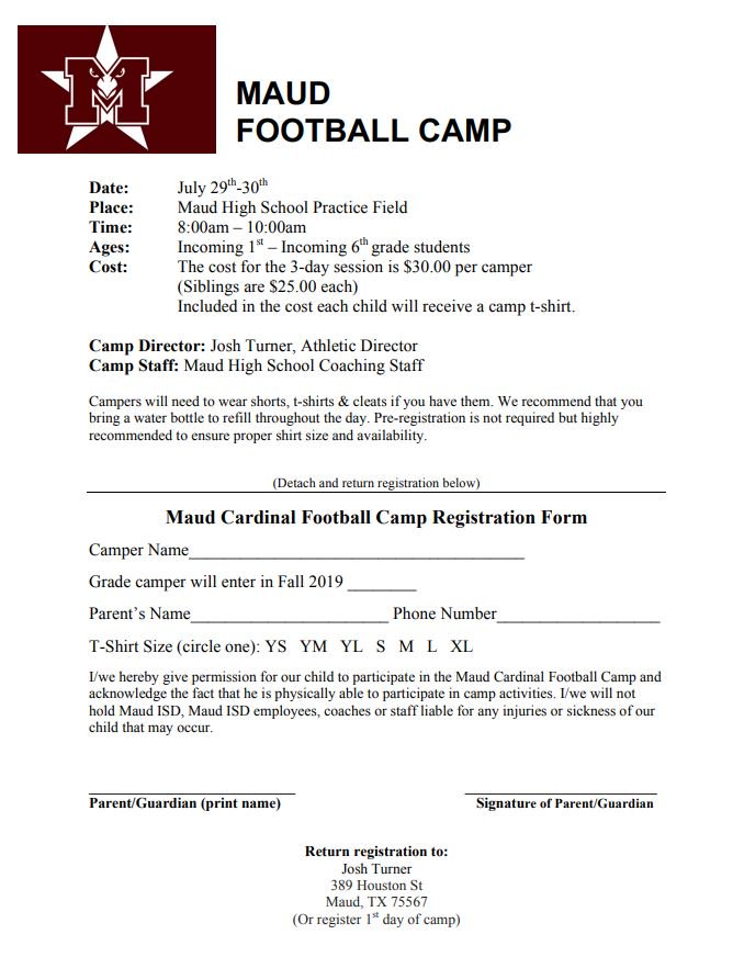 Incoming first through sixth grade Cardinal football camp to be help July 29-30