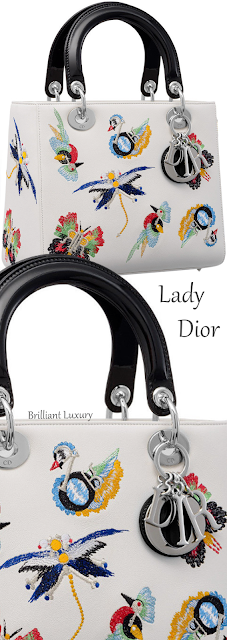 Lady Dior bag in white calfskin embroidered with animals and Dior charms #brilliantluxury