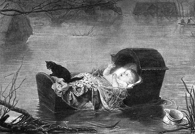 a John Everett Millais painting of a floating baby crib in a flood