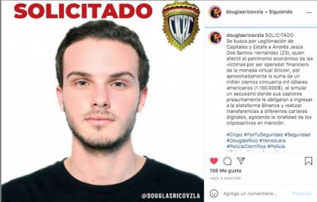 Andrés Jesús Dos Santos Hernández es buscado en Venezuela por apropiarse de más de un millón de dólares en Bitcoin mediante estafa y simulación de secuestro
