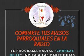 """PROGRAMA """"CHARLAS DE FE"""" PUBLICAMOS TU NOTICIA PASTORAL"""