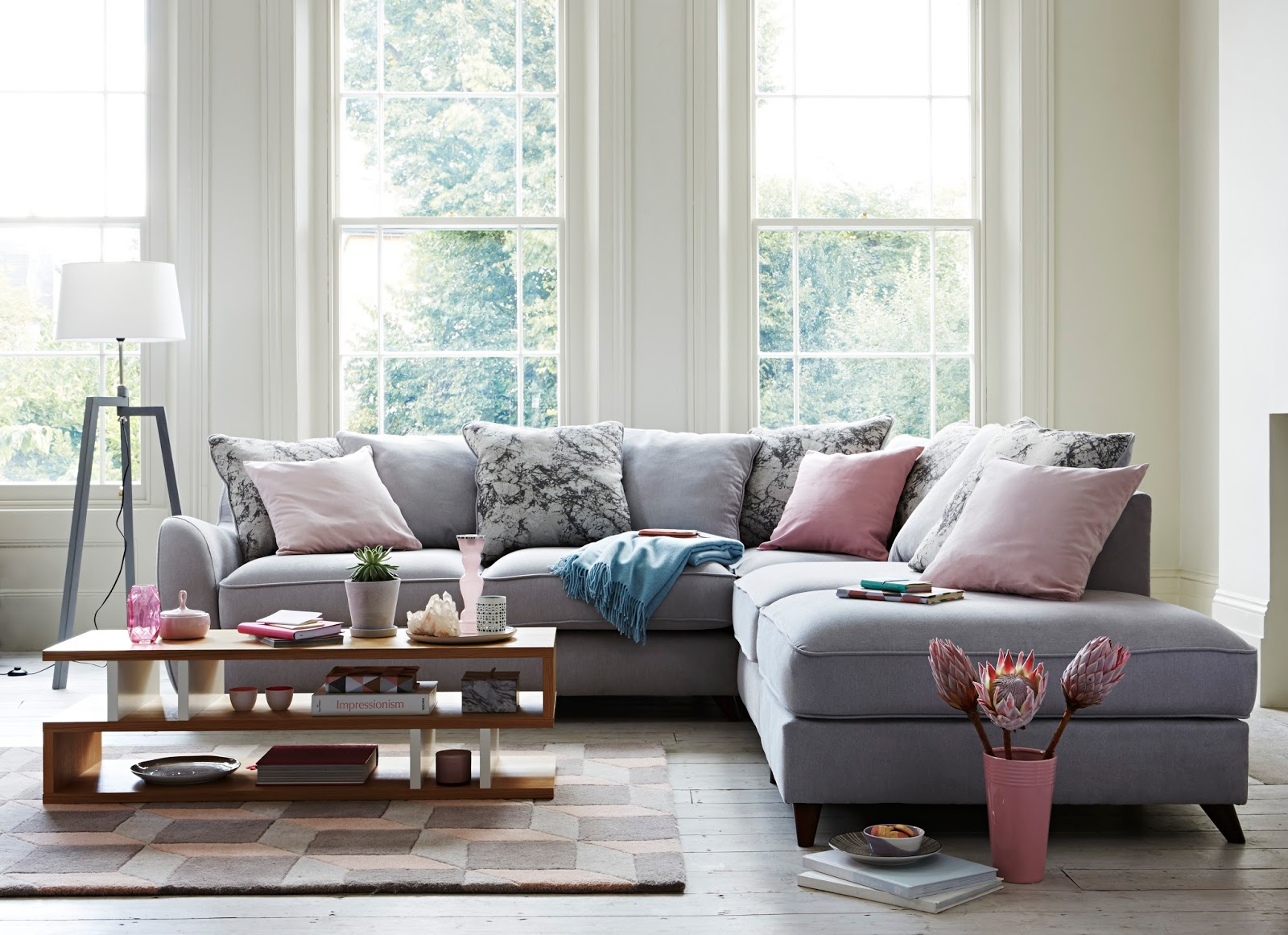 Grey and pink living room - Mamasvib V I Buys How To Refresh Your Grey Living Room With Spring S Hottest Pastel