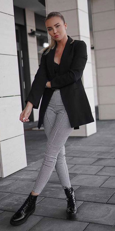 Looking forward to walking your workspace with style? Check out these 24 Stylish Summer Work Outfits for Women that are Office-friendly. Work Wear via higiggle.com | black Blazer + trouser | #summeroutfits #office #workoutfits #blazer