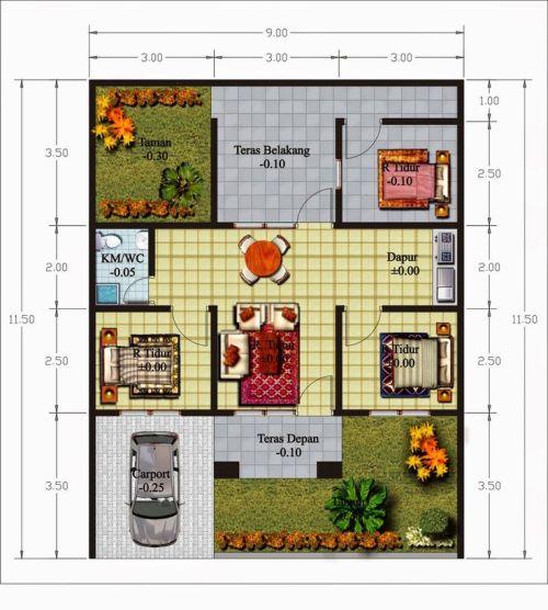 gambar denah rumah 1 lantai 3 kamar tidur