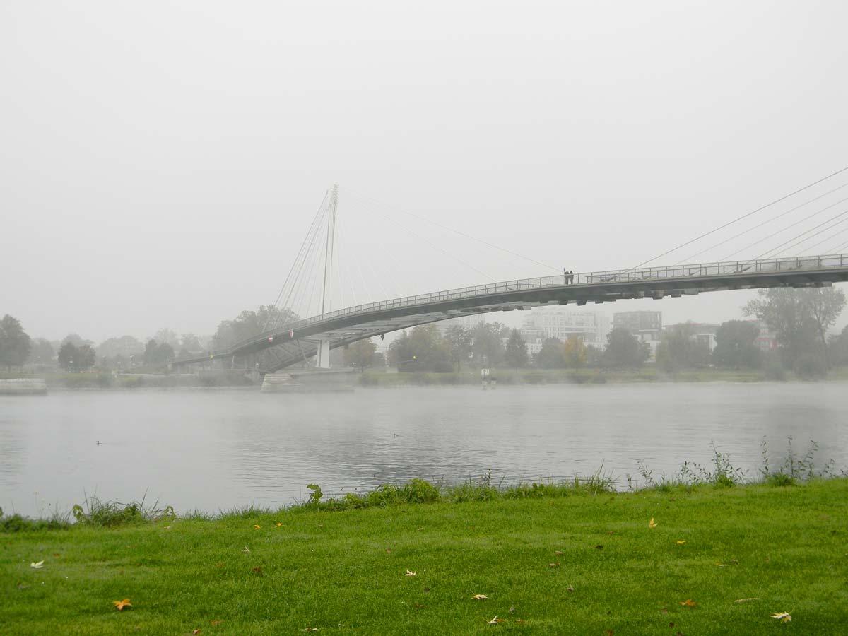 Pont des deux rives, strasbourg, kehl, brume en automne