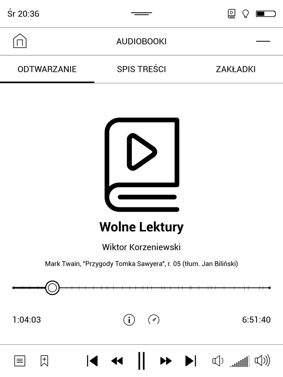 PocketBook InkPad 3 – ekran odtwarzania audiobooków