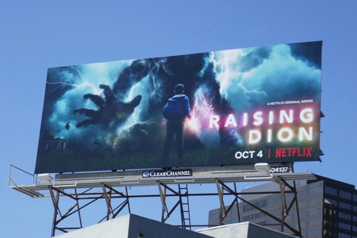 Raising Dion series launch billboard
