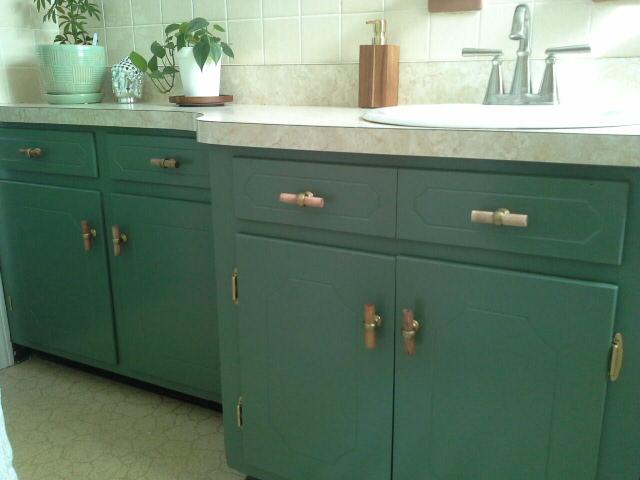 Vintage Bathroom Makeover green vanity cabinet american standard faucet