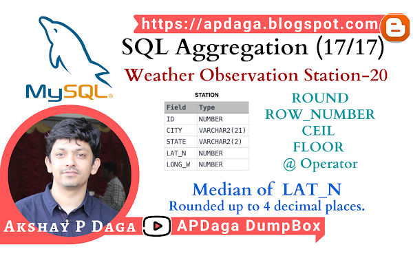 HackerRank: [SQL Aggregation - 17/17] Weather Observation Station-20 | ROUND, ROW_NUMBER, CEIL, FLOOR & '@' operator in SQL