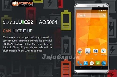 MicromaxCanvas Juice 2 AQ5001: 2GB RAM,Android Lollipop Phone Specs, Price