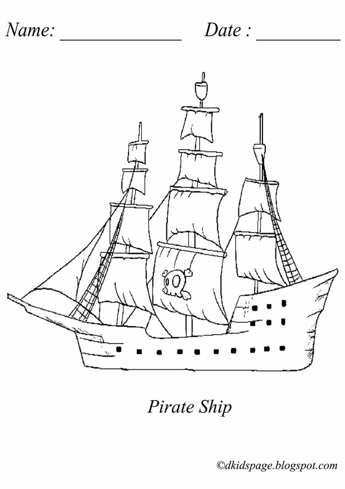 Kids Page Pirate Ship Coloring Page