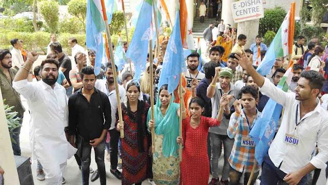 nsui-agitation-against-lingaya-university-faridabad