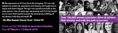 TCS Walkin Drive : Multiple Skills : Multiple Locations : On 7th to 13 Mar 2016