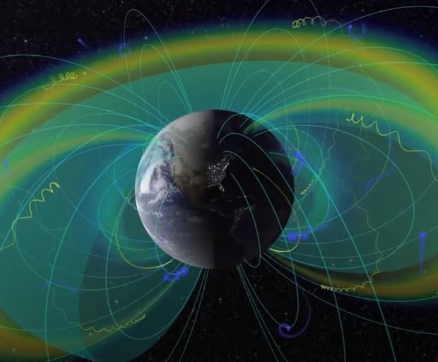 The Earth's magnetic field acts as a protective shield.
