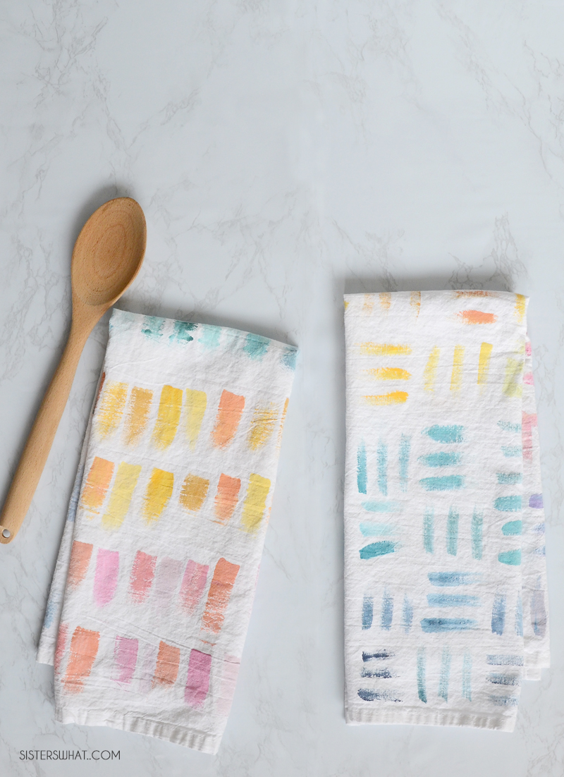 watercolor flour sack towel tutorial
