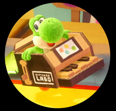 Yoshi's Crafted World Nintendo Labo piano costume cardboard