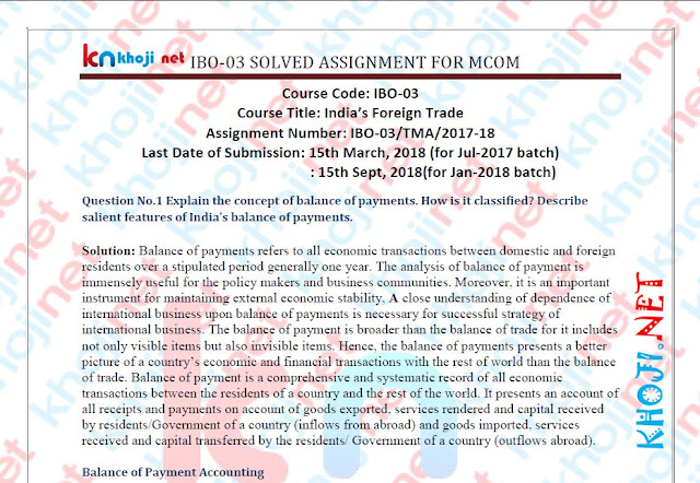 IGNOU MCOM 1st year solved assignment for 2017-18