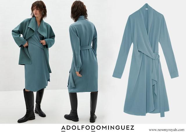 Queen Letizia wore Adolfo Dominguez wrap-around dress with side lacing
