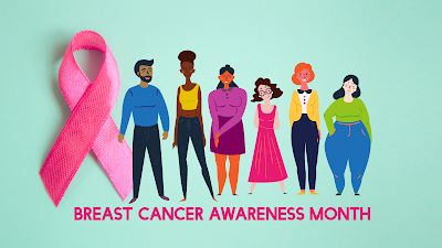 graphic shows cartoon people standing next to a breast cancer ribbon with text that reads, breasts cancer awareness month