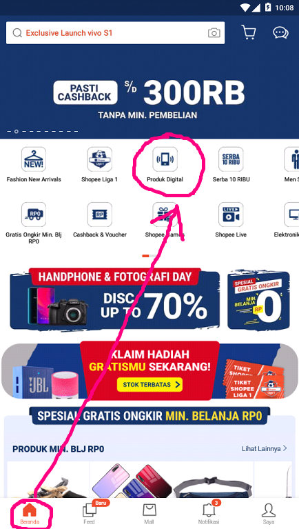 Menu Produk Digital di Halaman Beranda Aplikasi Shopee.
